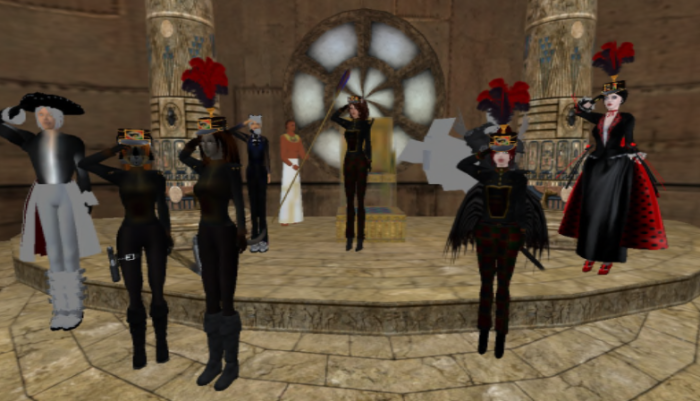 CCB saluting our Catmander-in-Chief, after we'd just finished kidnapping him. ;-p ~Aevalle Galicia