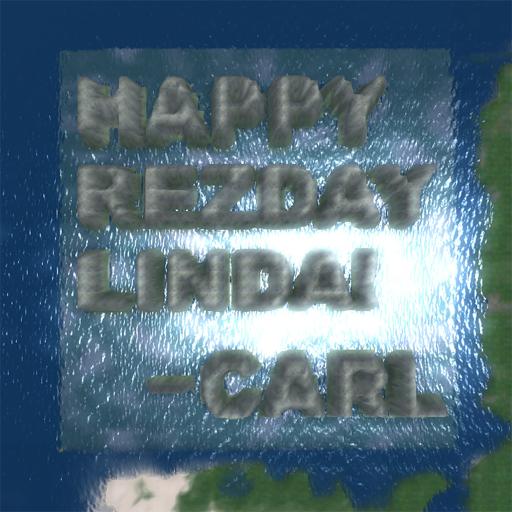 In 2009, Carl Metropolitan rented a new unterraformed sim to leave a memorable SL birthday wish. Photo supplied by Carl Metropolitan